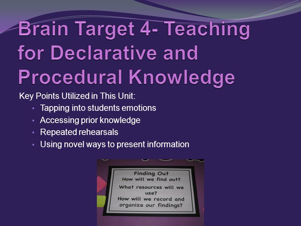 Key Points Utilized in This Unit: Tapping into students emotions Accessing prior knowledge Repeated rehearsals Using novel ways to present information