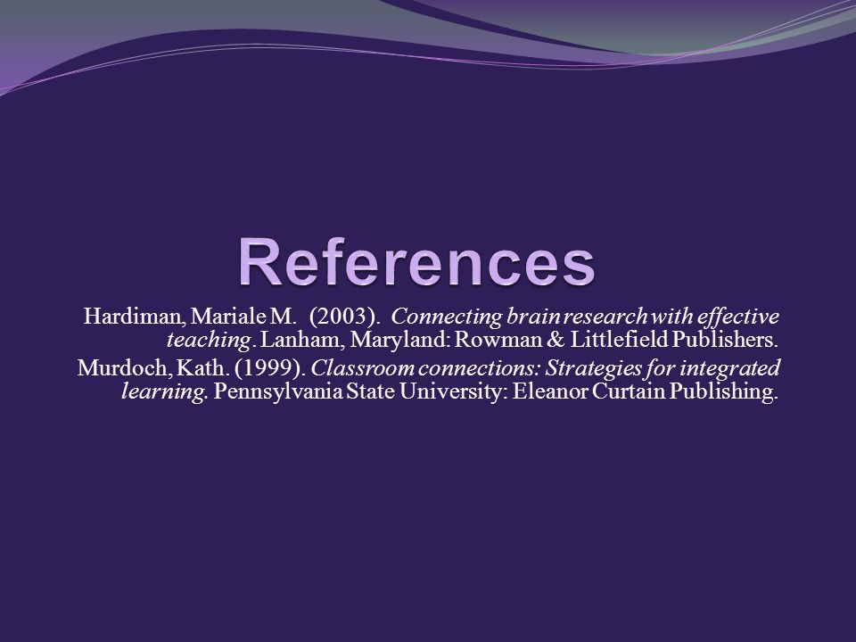 Hardiman, Mariale M. (2003). Connecting brain research with effective teaching.