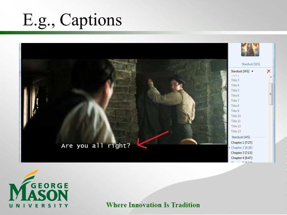 Where Innovation Is Tradition E.g., Captions