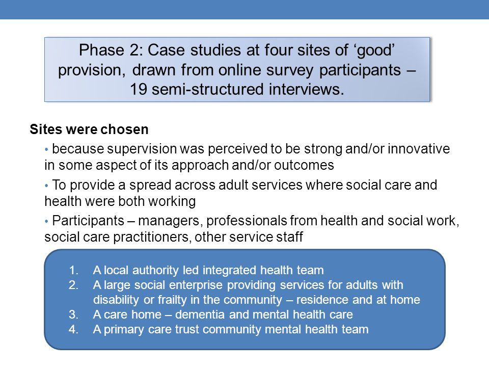 Sites were chosen because supervision was perceived to be strong and/or innovative in some aspect of its approach and/or outcomes To provide a spread