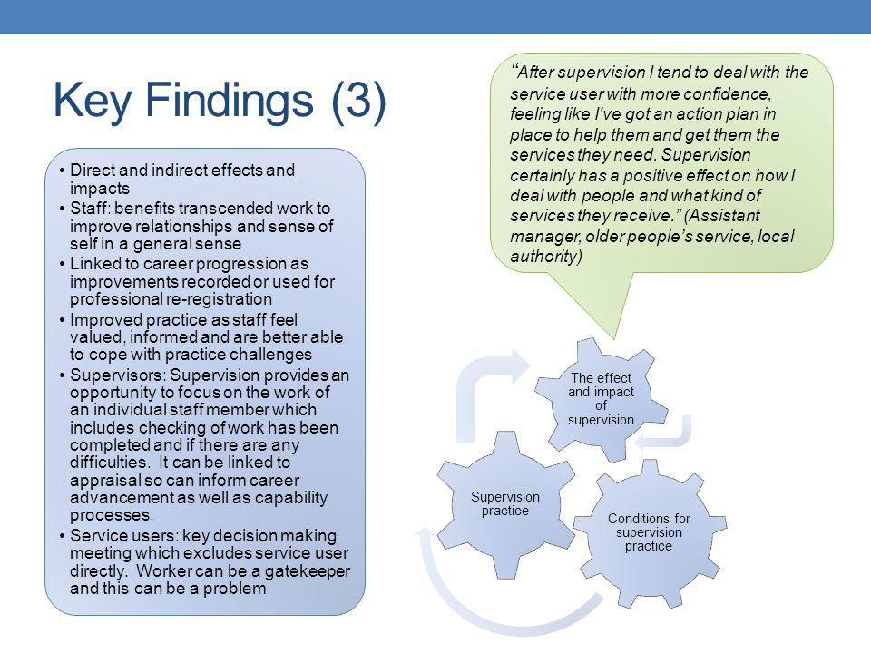 Key Findings (3) Conditions for supervision practice Supervision practice The effect and impact of supervision Direct and indirect effects and impacts