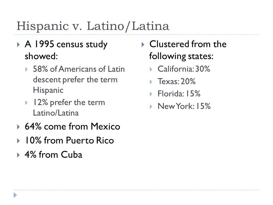 Hispanic v. Latino/Latina  A 1995 census study showed:  58% of Americans of Latin descent prefer the term Hispanic  12% prefer the term Latino/Lati