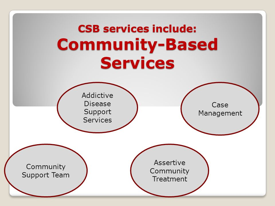 CSB services include: Community-Based Services Community Support Team Addictive Disease Support Services Case Management Assertive Community Treatment