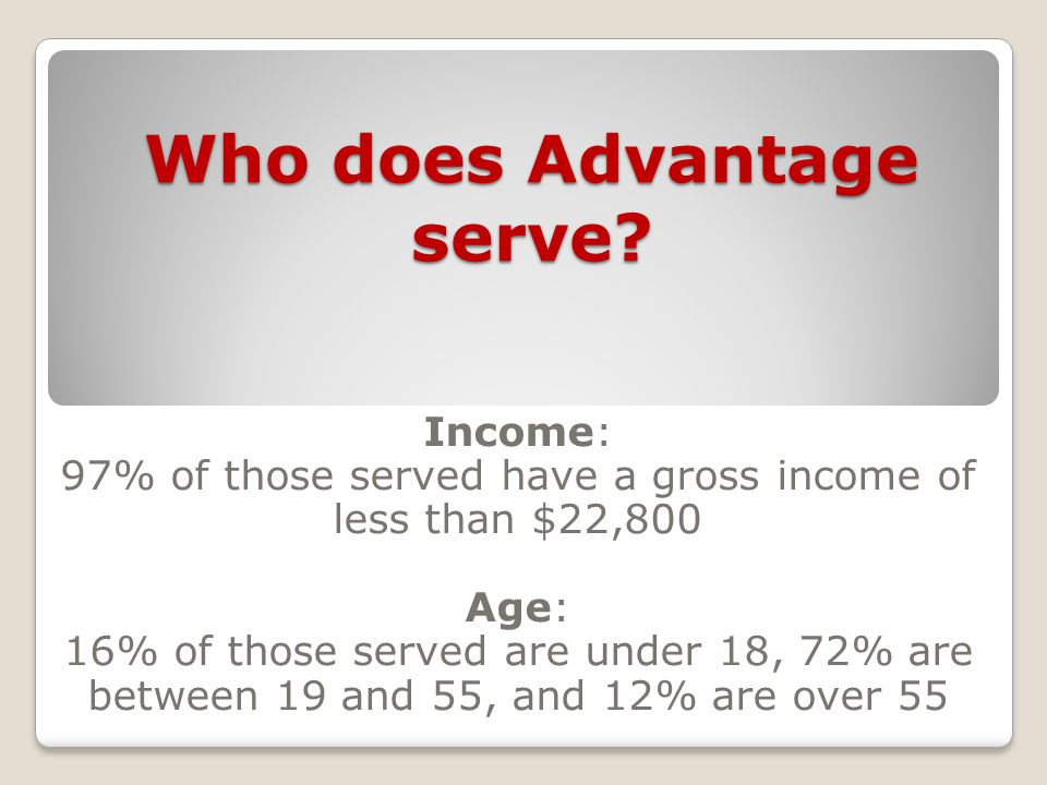 Who does Advantage serve.