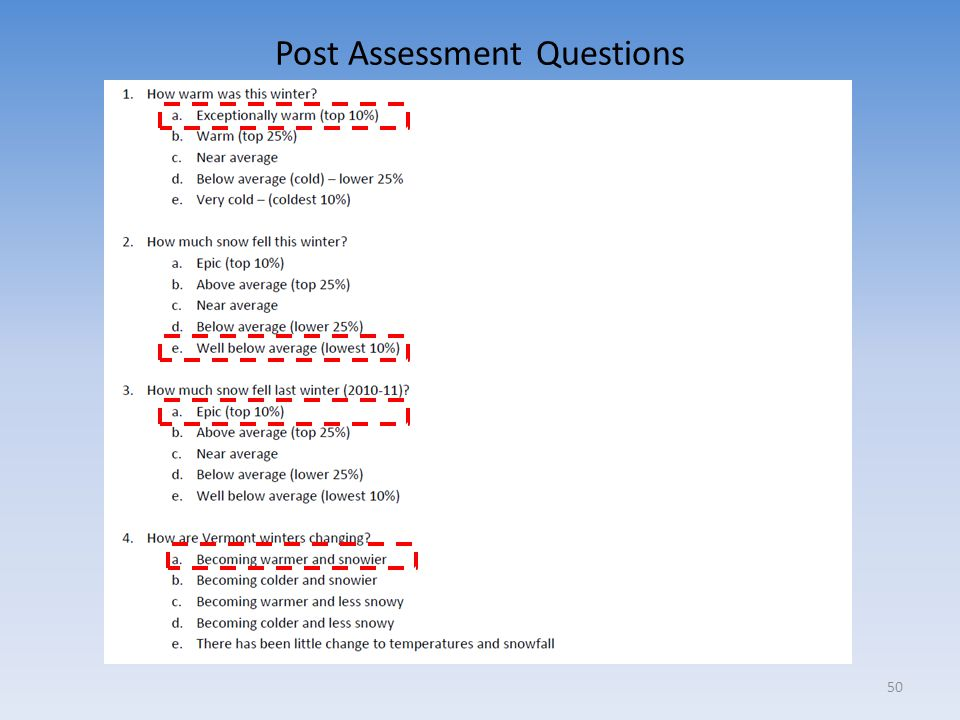 Post Assessment Questions 50
