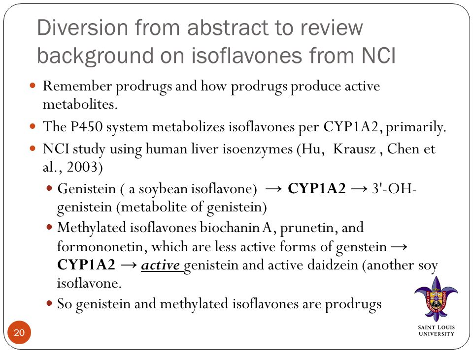 Diversion from abstract to review background on isoflavones from NCI Remember prodrugs and how prodrugs produce active metabolites.