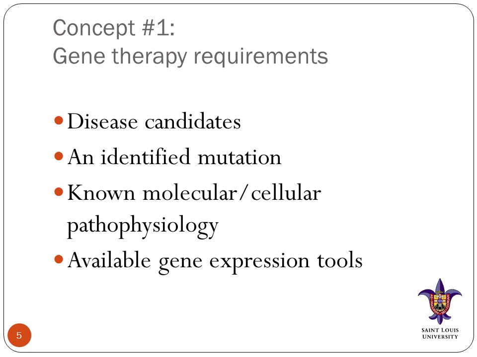 Basic concept #3: Gene REPAIR therapies and background Technically feasible and more definitive therapy, but Technique usually rely on homologous recombination Naturally occurring homologous recombination occurring during miosis in the cell cycle.
