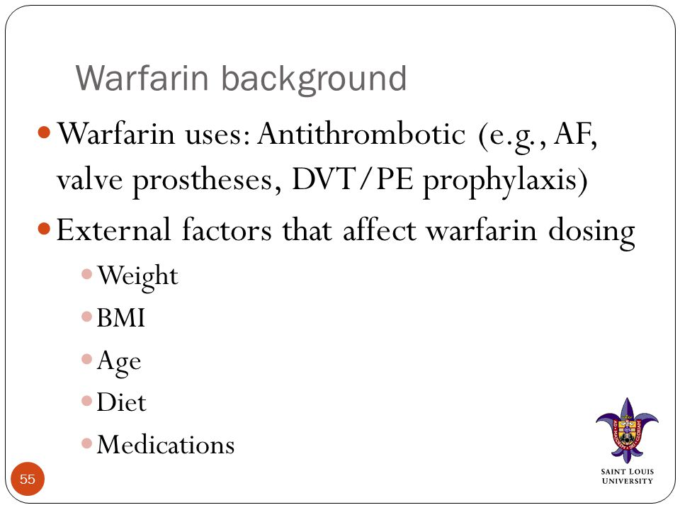 Warfarin background Warfarin uses: Antithrombotic (e.g., AF, valve prostheses, DVT/PE prophylaxis) External factors that affect warfarin dosing Weight BMI Age Diet Medications 55