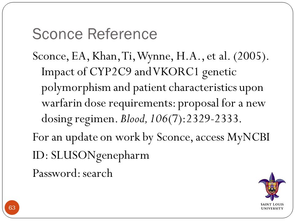 Sconce Reference Sconce, EA, Khan, Ti, Wynne, H.A., et al. (2005). Impact of CYP2C9 and VKORC1 genetic polymorphism and patient characteristics upon w