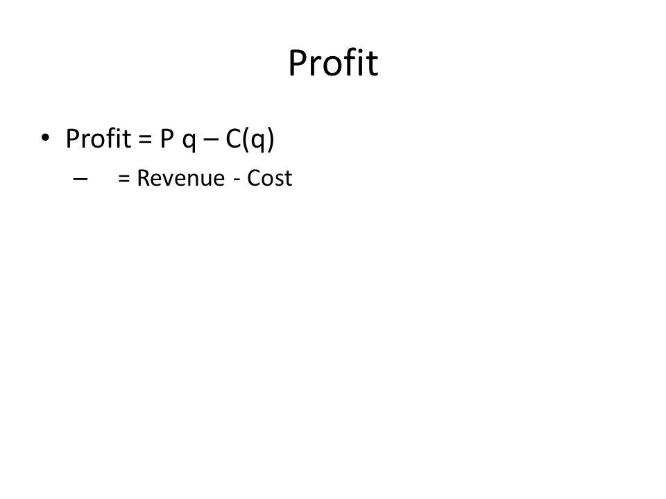 Profit Profit = P q – C(q) – = Revenue - Cost