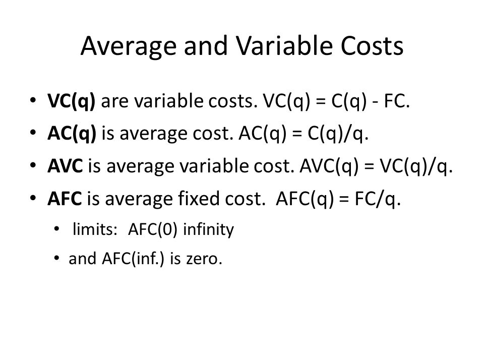 Average and Variable Costs VC(q) are variable costs.