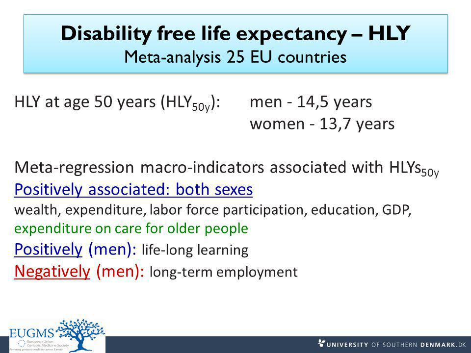 Disability free life expectancy – HLY Meta-analysis 25 EU countries HLY at age 50 years (HLY 50y ): men - 14,5 years women - 13,7 years Meta-regression macro-indicators associated with HLYs 50y Positively associated: both sexes wealth, expenditure, labor force participation, education, GDP, expenditure on care for older people Positively (men): life-long learning Negatively (men): long-term employment
