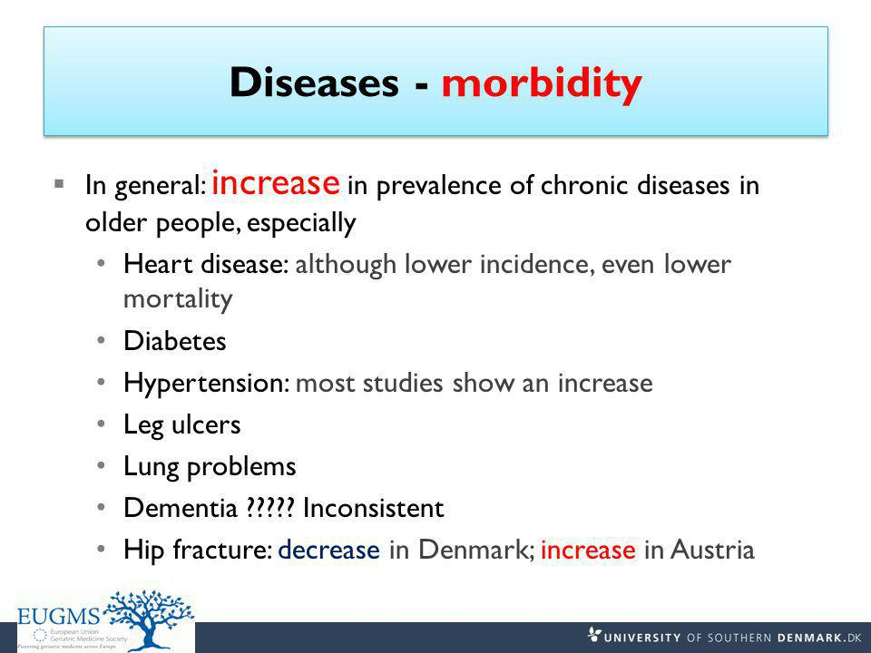 Diseases - morbidity  In general: increase in prevalence of chronic diseases in older people, especially Heart disease: although lower incidence, even lower mortality Diabetes Hypertension: most studies show an increase Leg ulcers Lung problems Dementia ????.