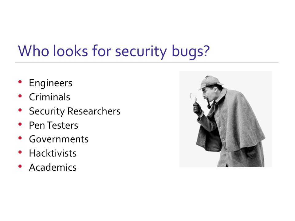 Who looks for security bugs.