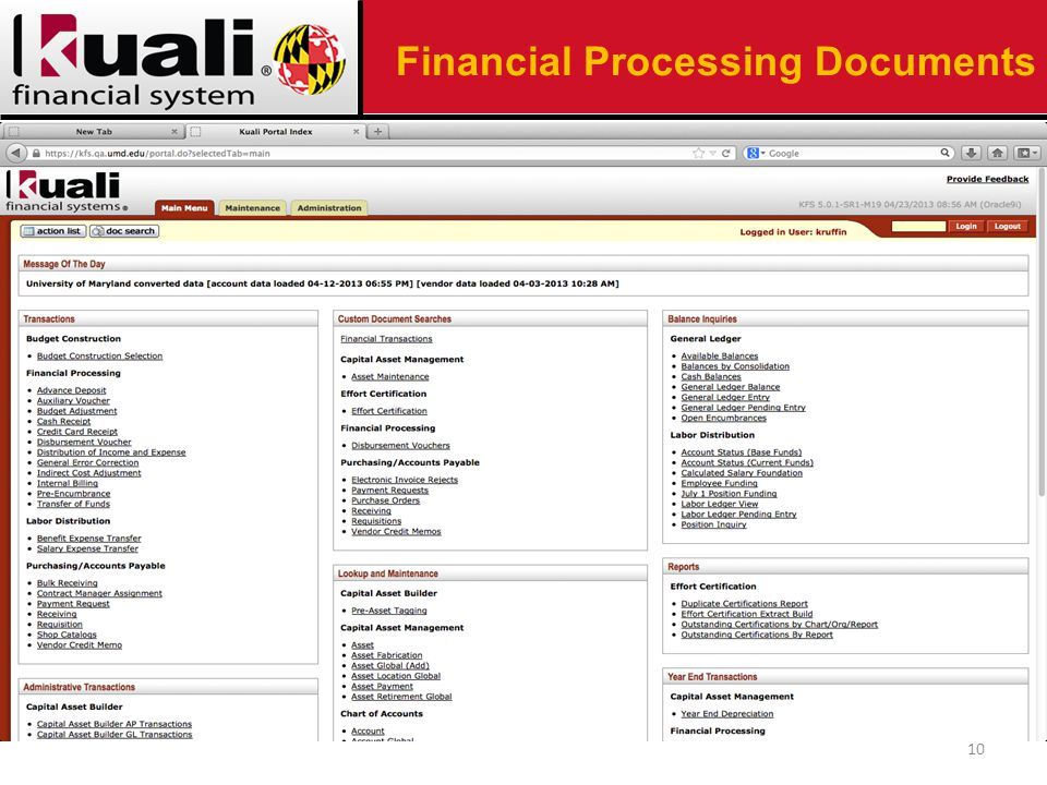 10 Financial Processing Documents