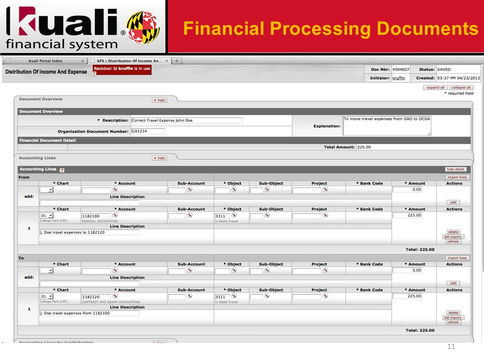 11 Financial Processing Documents