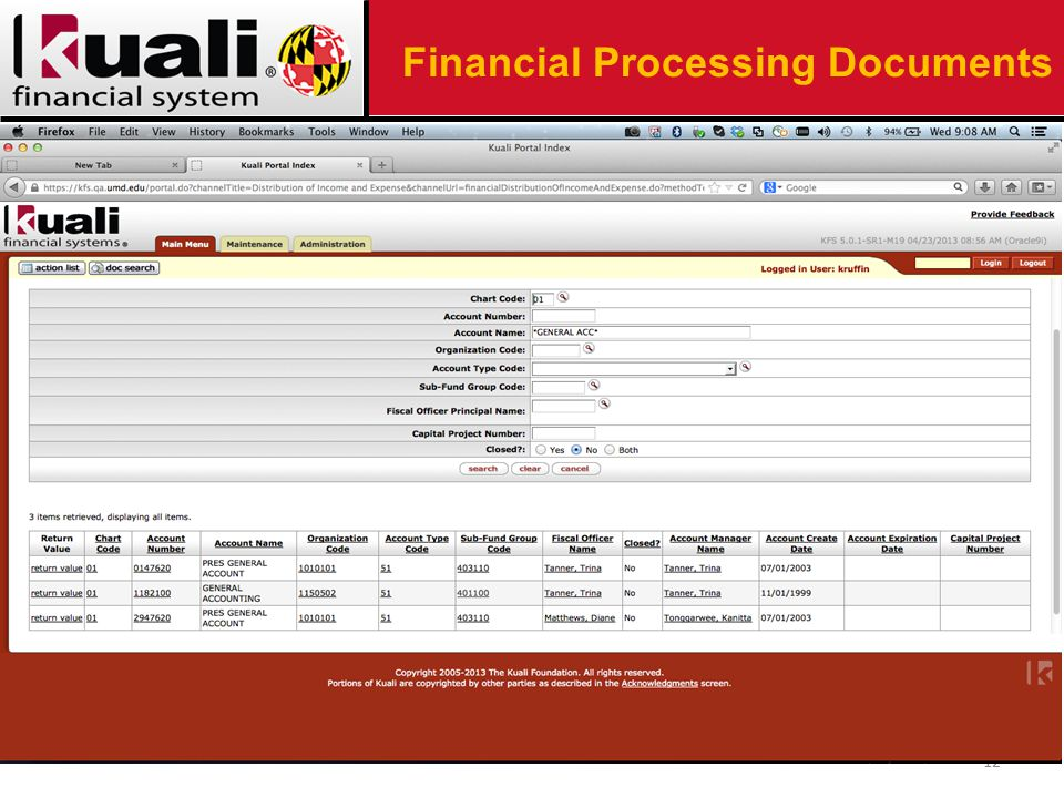 12 Financial Processing Documents