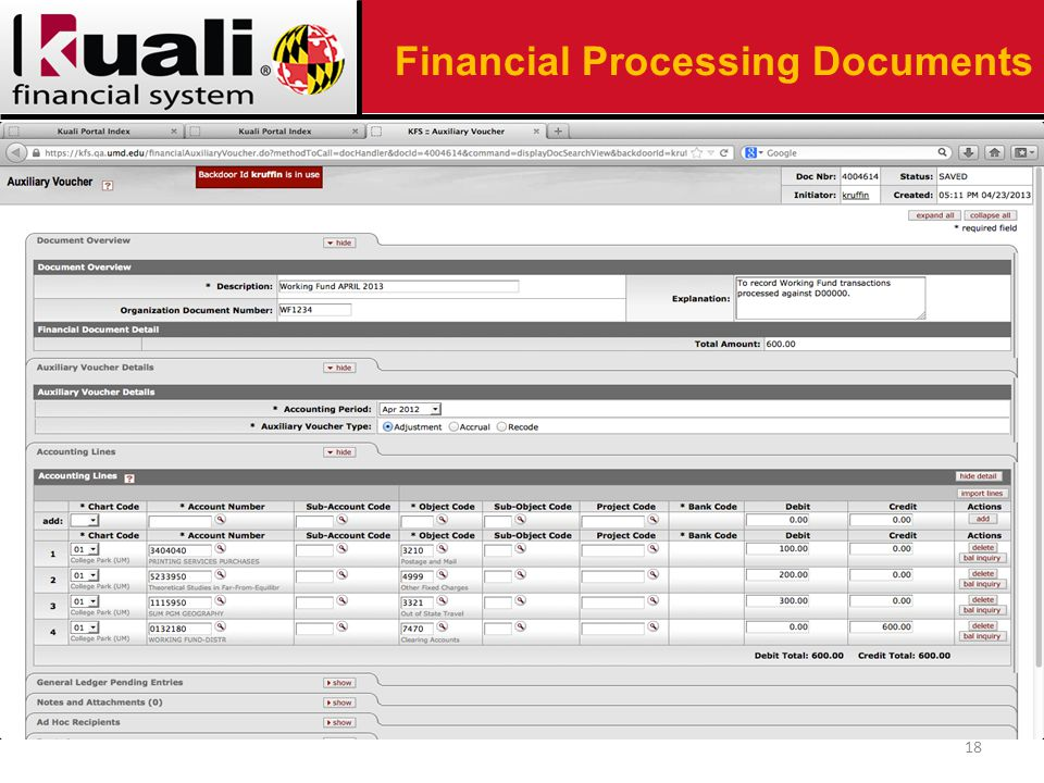 18 Financial Processing Documents