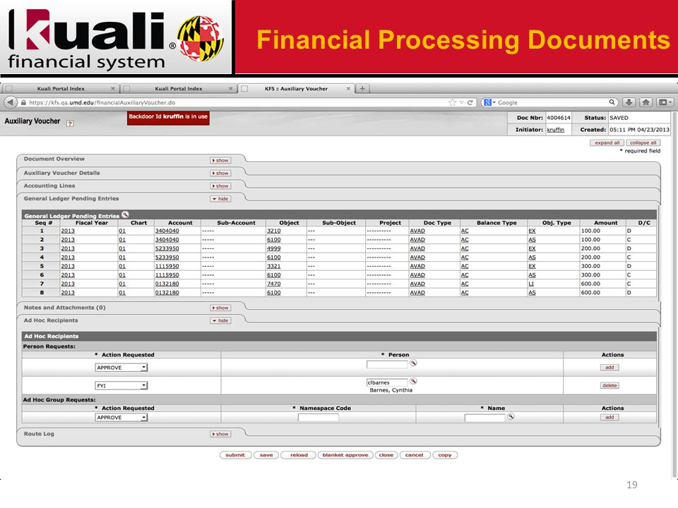 19 Financial Processing Documents