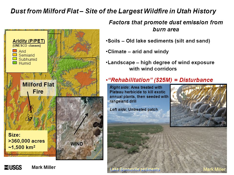 Right side: Area treated with Plateau herbicide to kill exotic annual plants, then seeded with rangeland drill Left side: Untreated patch Lake Bonneville sediments Mark Miller Dust from Milford Flat – Site of the Largest Wildfire in Utah History Aridity (P/PET) (UNESCO classes) Arid Semiarid Subhumid Humid Size: >360,000 acres ~1,500 km 2 Mark Miller Milford Flat Fire Factors that promote dust emission from burn area Soils – Old lake sediments (silt and sand) Climate – arid and windy Landscape – high degree of wind exposure with wind corridors Rehabilitation ($25M) = Disturbance WIND