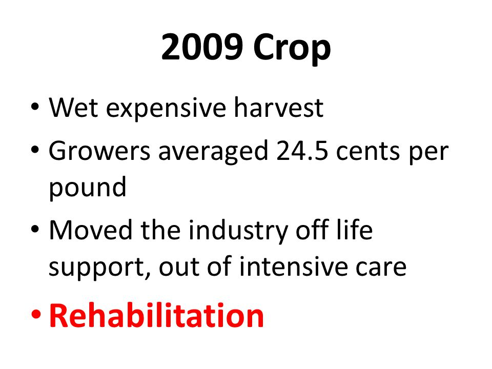 2009 Crop Wet expensive harvest Growers averaged 24.5 cents per pound Moved the industry off life support, out of intensive care Rehabilitation