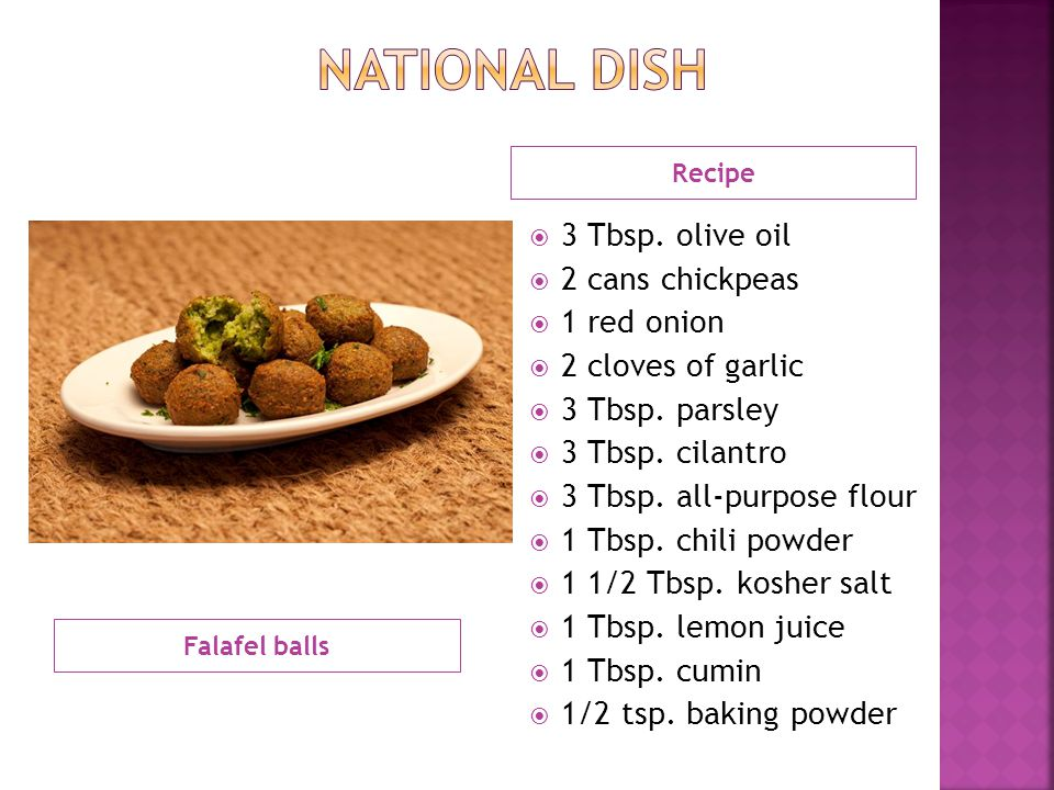 Falafel balls Recipe  3 Tbsp.