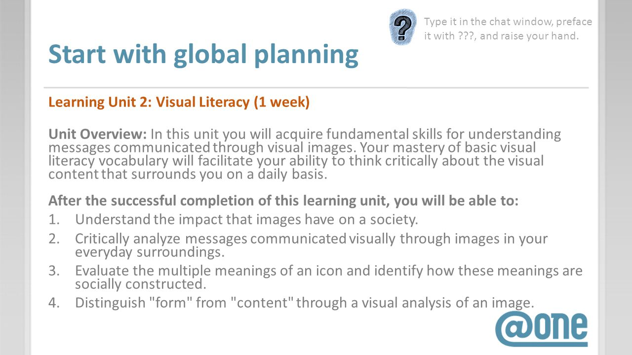 Start with global planning Learning Unit 2: Visual Literacy (1 week) Unit Overview: In this unit you will acquire fundamental skills for understanding messages communicated through visual images.