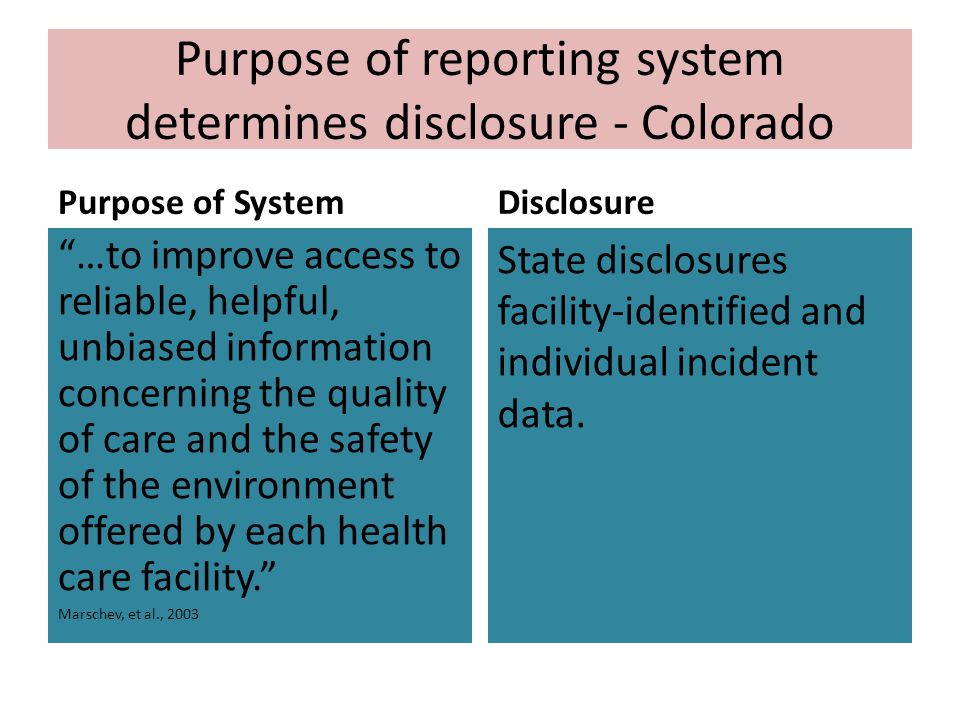 Purpose of reporting system determines disclosure - Colorado Purpose of System …to improve access to reliable, helpful, unbiased information concerning the quality of care and the safety of the environment offered by each health care facility. Marschev, et al., 2003 Disclosure State disclosures facility-identified and individual incident data.