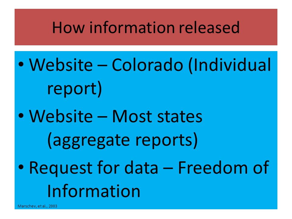 How information released Website – Colorado (Individual report) Website – Most states (aggregate reports) Request for data – Freedom of Information Marschev, et al., 2003