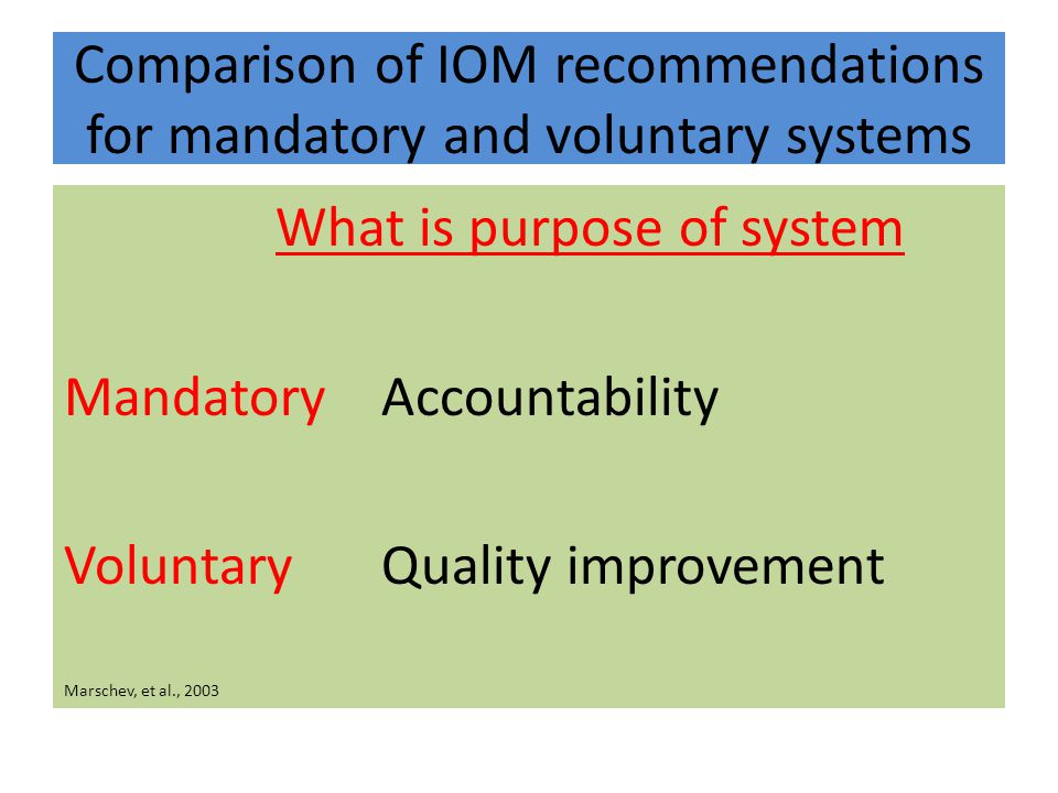 Comparison of IOM recommendations for mandatory and voluntary systems What is purpose of system MandatoryAccountability VoluntaryQuality improvement Marschev, et al., 2003
