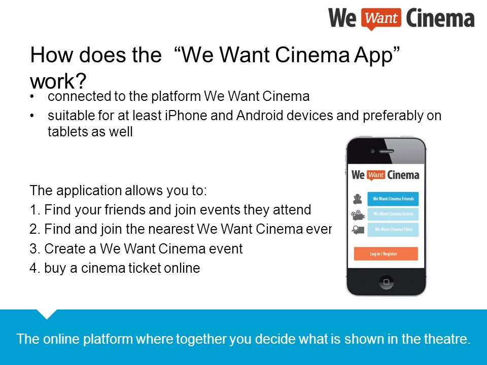 How does the We Want Cinema App work.