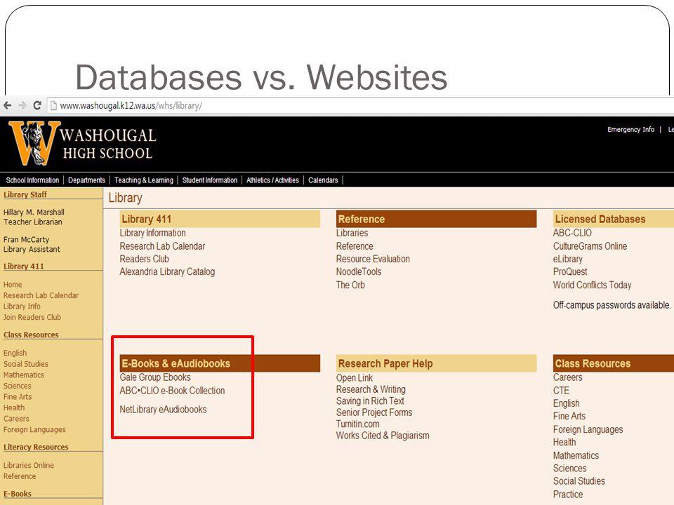 Databases vs. Websites
