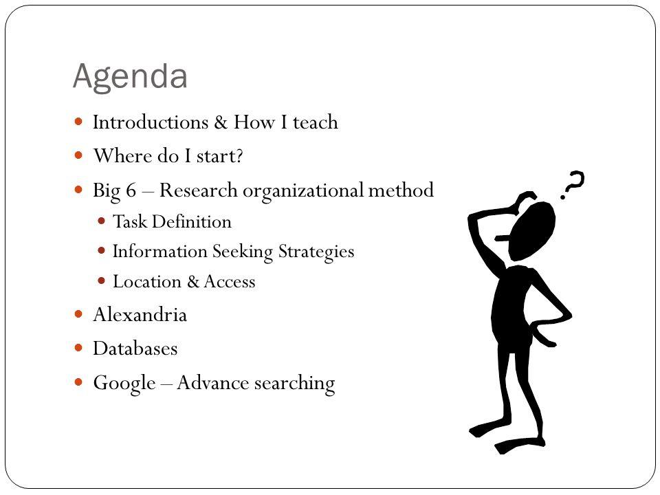 Agenda Introductions & How I teach Where do I start? Big 6 – Research organizational method Task Definition Information Seeking Strategies Location &