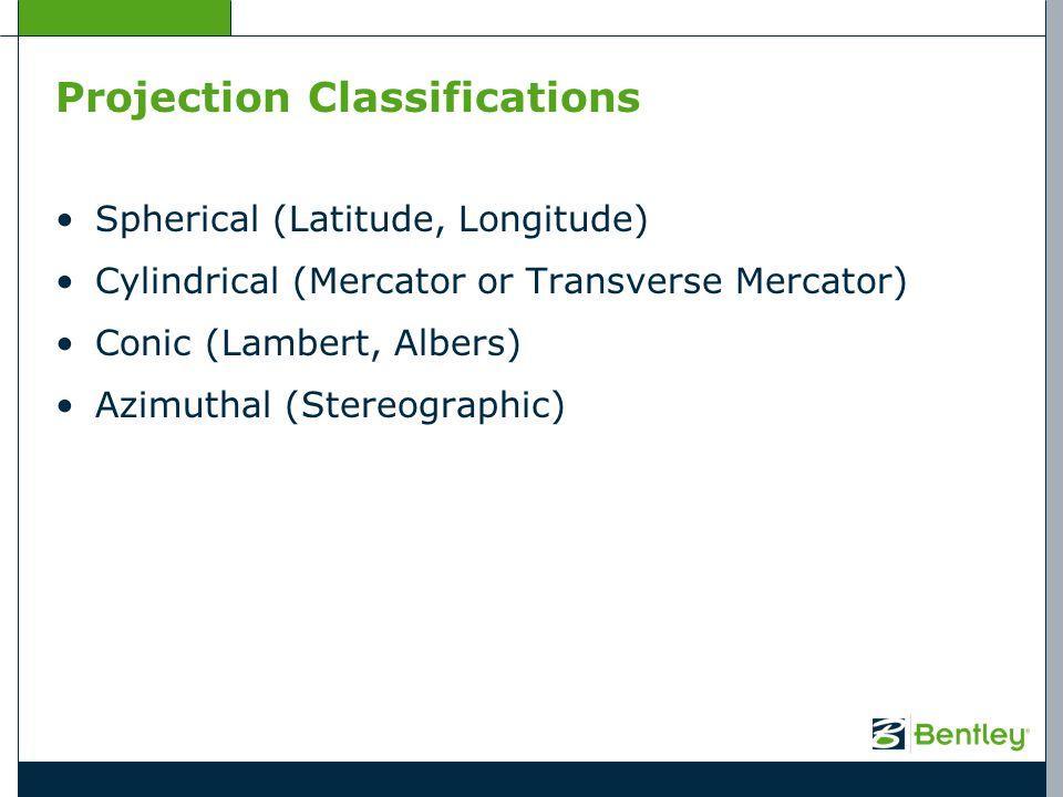 Projection Classifications Spherical (Latitude, Longitude) Cylindrical (Mercator or Transverse Mercator) Conic (Lambert, Albers) Azimuthal (Stereograp