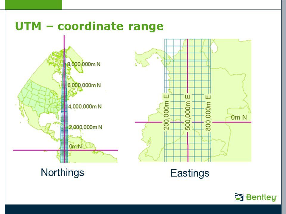 UTM – coordinate range Northings Eastings
