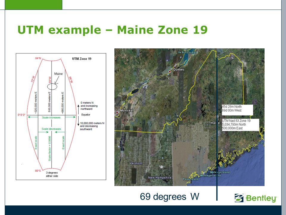 UTM example – Maine Zone 19 69 degrees W