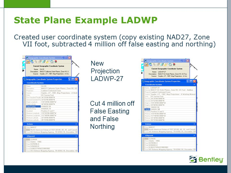 State Plane Example LADWP Created user coordinate system (copy existing NAD27, Zone VII foot, subtracted 4 million off false easting and northing) New