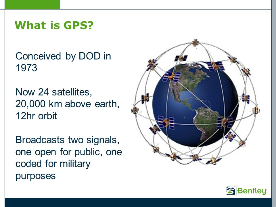 What is GPS? Conceived by DOD in 1973 Now 24 satellites, 20,000 km above earth, 12hr orbit Broadcasts two signals, one open for public, one coded for