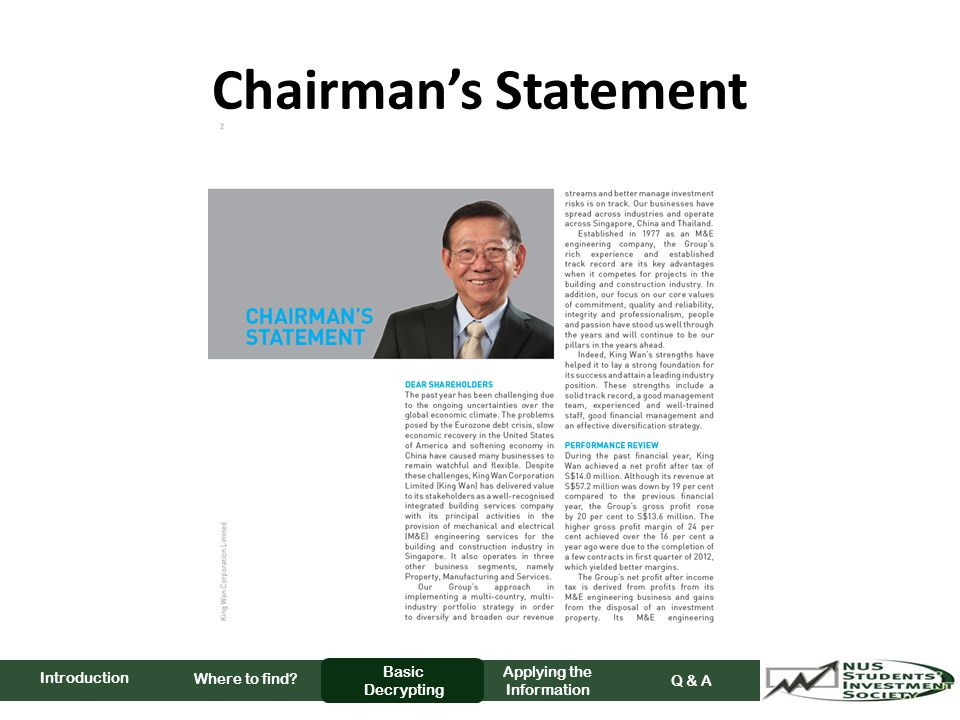 Chairman's Statement Where to find Basic Decrypting Applying the Information Q & A Introduction