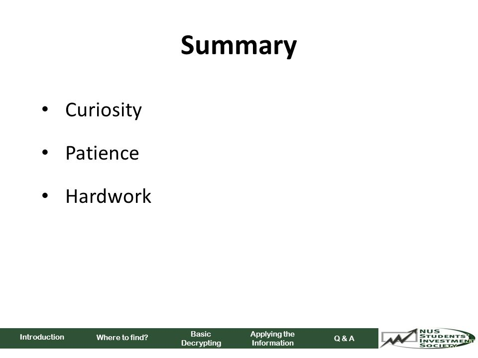 Summary Curiosity Patience Hardwork Where to find.