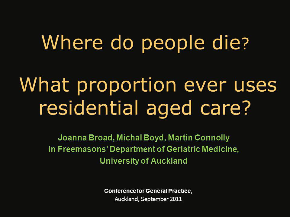 Place of death of 65+s using published, online and requested data