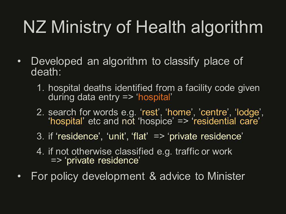 NZ Ministry of Health algorithm Developed an algorithm to classify place of death:Developed an algorithm to classify place of death: 1.hospital deaths