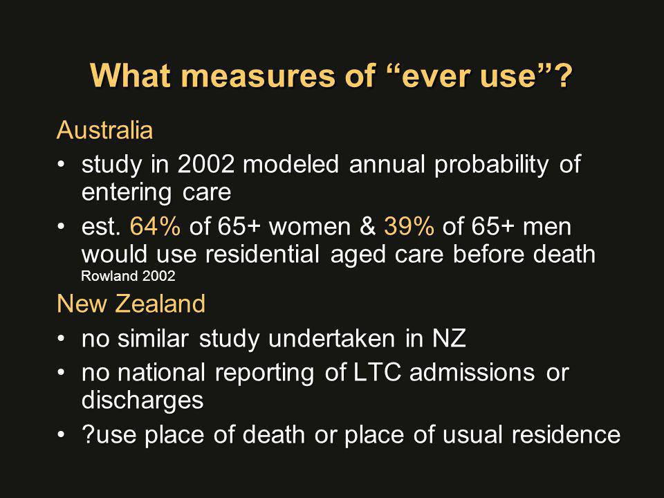 "What measures of ""ever use""? Australia study in 2002 modeled annual probability of entering carestudy in 2002 modeled annual probability of entering c"
