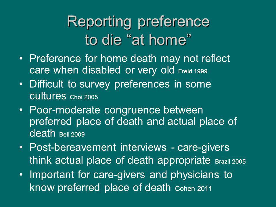 "Reporting preference to die ""at home"" Preference for home death may not reflect care when disabled or very old Freid 1999 Difficult to survey preferen"