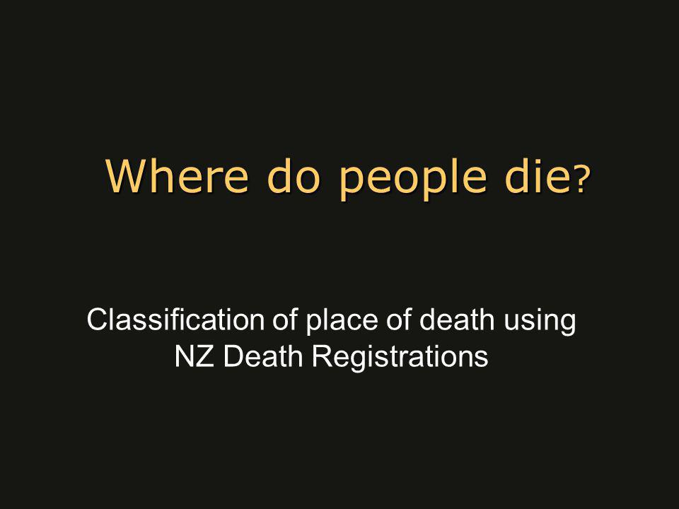 Where do people die Classification of place of death using NZ Death Registrations