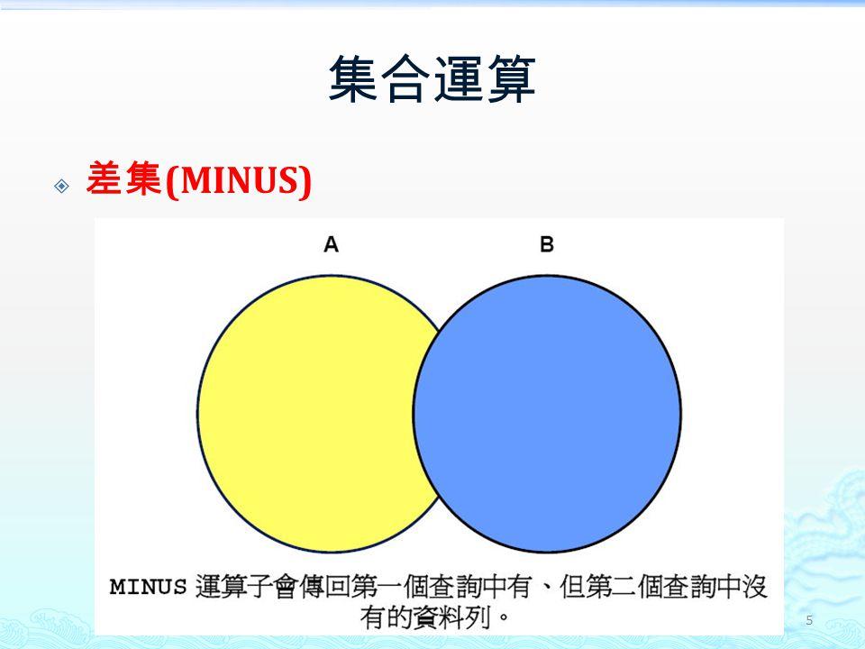 集合運算  差集 (MINUS) 5