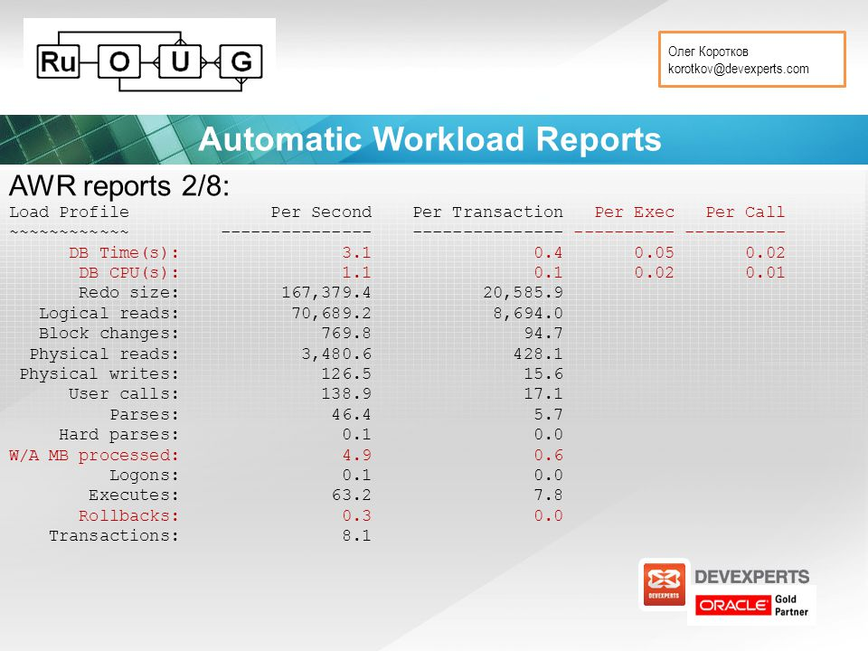 Олег Коротков korotkov@devexperts.com Automatic Workload Reports AWR reports 2/8: Load Profile Per Second Per Transaction Per Exec Per Call ~~~~~~~~~~~~ --------------- --------------- ---------- ---------- DB Time(s): 3.1 0.4 0.05 0.02 DB CPU(s): 1.1 0.1 0.02 0.01 Redo size: 167,379.4 20,585.9 Logical reads: 70,689.2 8,694.0 Block changes: 769.8 94.7 Physical reads: 3,480.6 428.1 Physical writes: 126.5 15.6 User calls: 138.9 17.1 Parses: 46.4 5.7 Hard parses: 0.1 0.0 W/A MB processed: 4.9 0.6 Logons: 0.1 0.0 Executes: 63.2 7.8 Rollbacks: 0.3 0.0 Transactions: 8.1