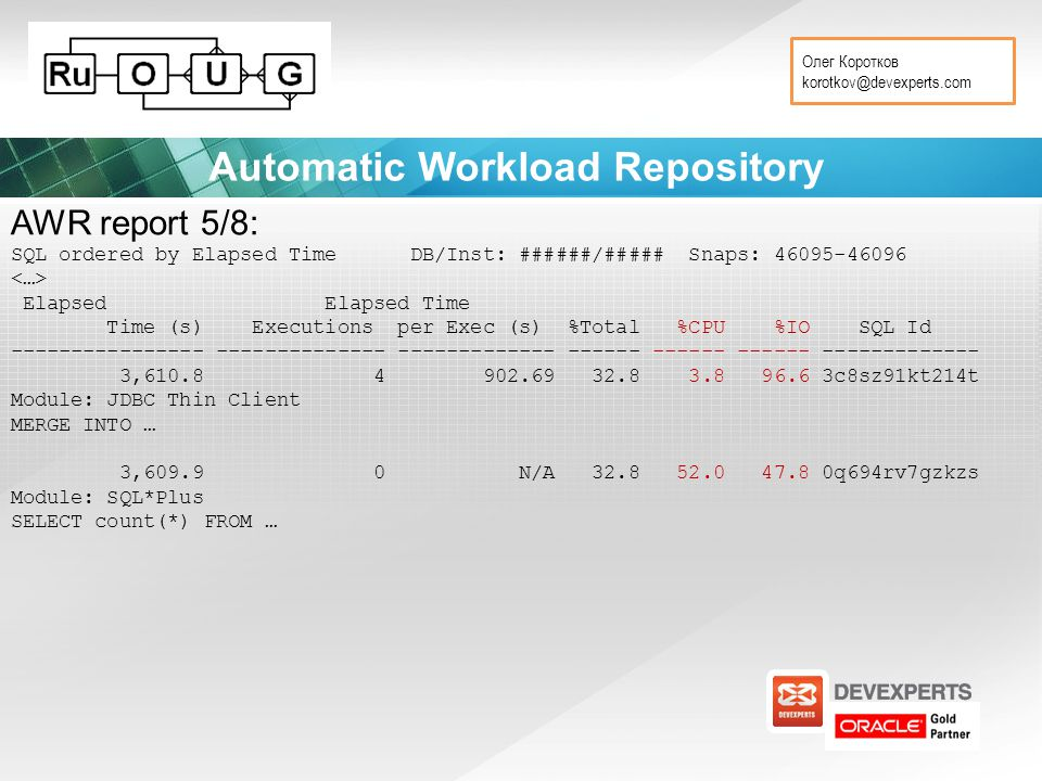 Олег Коротков korotkov@devexperts.com Automatic Workload Repository AWR report 5/8: SQL ordered by Elapsed Time DB/Inst: ######/##### Snaps: 46095-46096 Elapsed Elapsed Time Time (s) Executions per Exec (s) %Total %CPU %IO SQL Id ---------------- -------------- ------------- ------ ------ ------ ------------- 3,610.8 4 902.69 32.8 3.8 96.6 3c8sz91kt214t Module: JDBC Thin Client MERGE INTO … 3,609.9 0 N/A 32.8 52.0 47.8 0q694rv7gzkzs Module: SQL*Plus SELECT count(*) FROM …