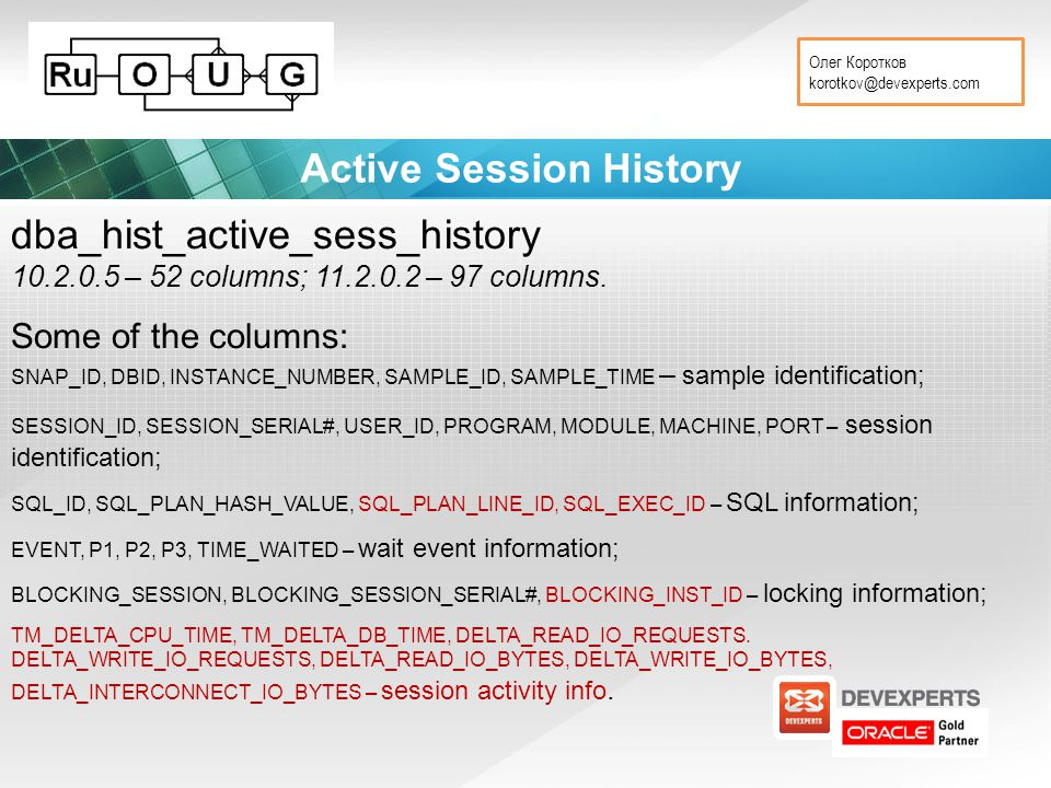 Олег Коротков korotkov@devexperts.com Active Session History dba_hist_active_sess_history 10.2.0.5 – 52 columns; 11.2.0.2 – 97 columns. Some of the co